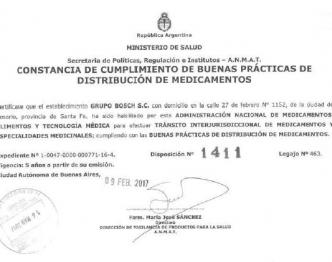 Certificado Interjurisdiccional. - Droguería BOSCH